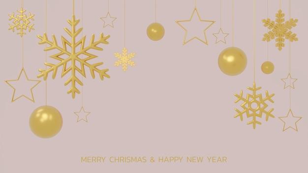 Flocons de neige dorés scintillants, boules de noël et étoiles sur fond noir. rendu 3d de l'ornement de cristmas suspendu brillant. modèle de couverture ou de bannière du nouvel an.