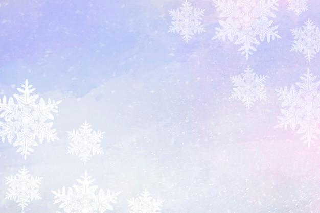 Flocons de neige sur fond de bordure d'hiver violet