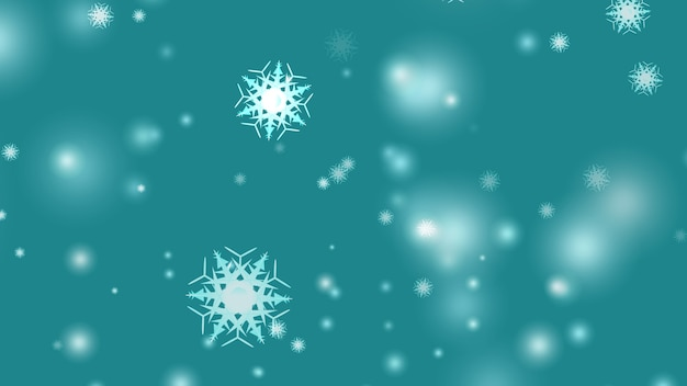 Flocons de neige tombant sur fond cyan flou