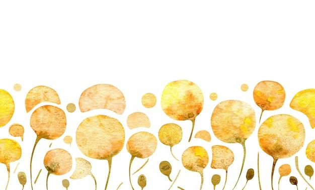Floral frontière horizontale transparente fleurs jaunes abstraites pissenlits isolés sur fond blanc