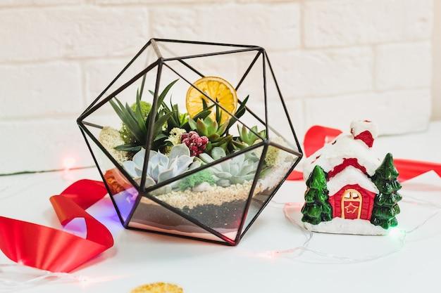Florarium - composition de plantes succulentes, pierre, sable et verre avec décoration de noël