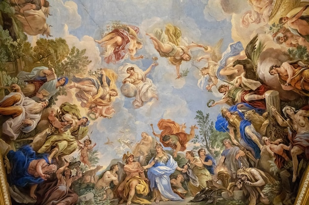 Florence, italie - 25 juin 2018 : vue panoramique de l'intérieur du plafond du palais médicis, également appelé palais médicis riccardi. c'est un palais renaissance situé à florence