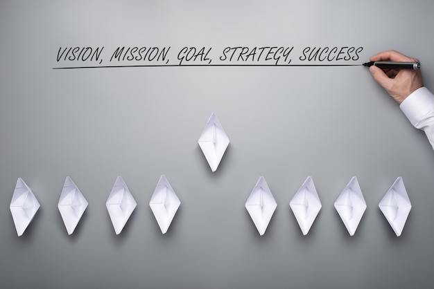 Flotte de bateaux en papier fabriqués en origami avec une vision, une mission, un objectif, une stratégie et un signe de succès au-dessus d'eux.