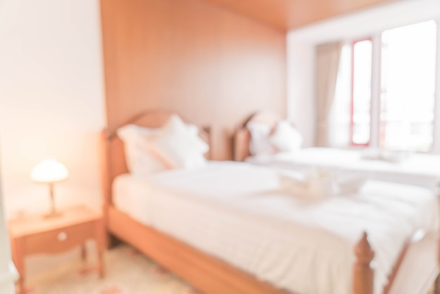 Flou abstrait et intérieur de chambre défocalisé et décoration