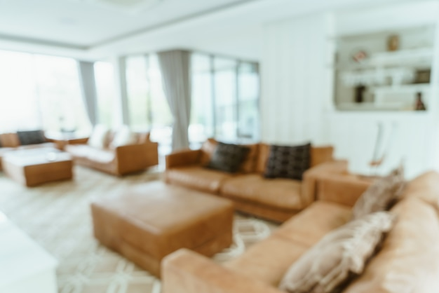 Flou abstrait et intérieur du salon défocalisé