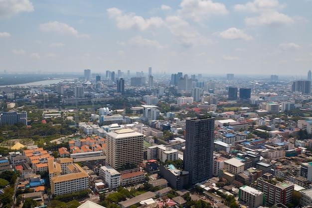Flou, fond, de, matin, or, lumière, vue, sur, cityscape, bangkok