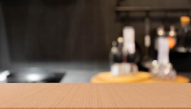 Flou à l'intérieur du style de décoration loft cuisine intérieure avec fond de perspective de planche de bois