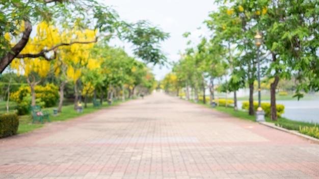 Flou de promenade dans le jardin du parc public suan luang rama ix bangkok thaïlande background