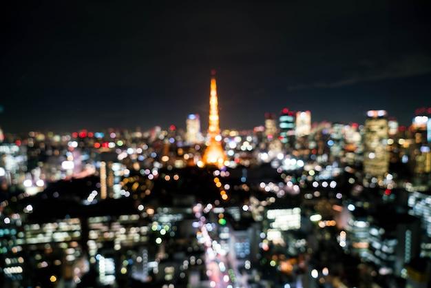 Flou tokyo city skyline dans la nuit