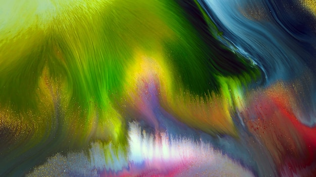 Fluide liquide art peinture à l'huile acrylique texture. toile de fond abstraite mélangeant l'effet de peinture. l'œuvre d'art acrylique de couleur liquide coule des éclaboussures. texture d'art fluide débordant de couleurs