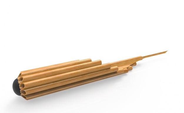 Flûte musicale thaïlandaise traditionnelle, pipe en bambou khean avec un tracé de détourage.