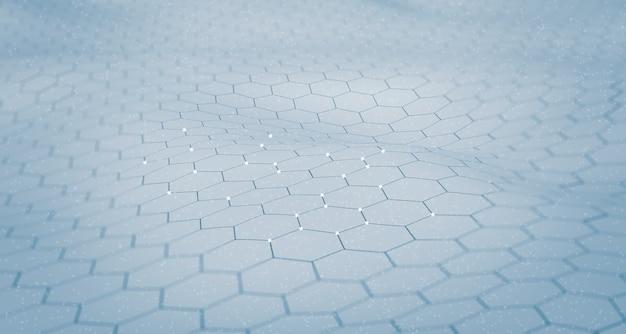 Flutter de surface hexagonale concept de scène de papier peint numérique connexion à une base de données grand réseau