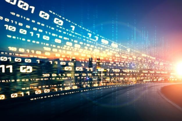 Flux de données numériques sur route avec flou de mouvement pour créer une vision du transfert à vitesse rapide