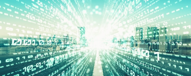 Flux de données numériques sur route avec flou de mouvement pour créer une vision de transfert rapide