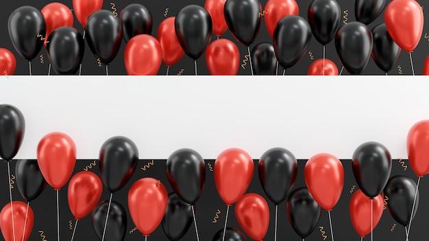 Flyer de ballons rouges brillants de concept de vente de vendredi noir avec le rendu 3d de cadre horizontal blanc