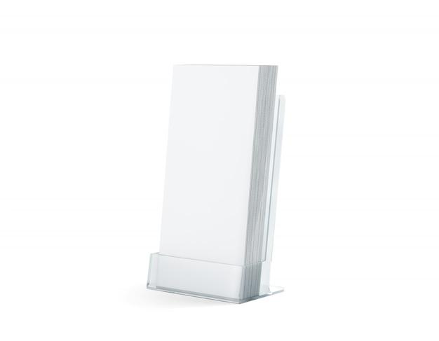Des flyers blancs vides s'empilent dans un support en verre