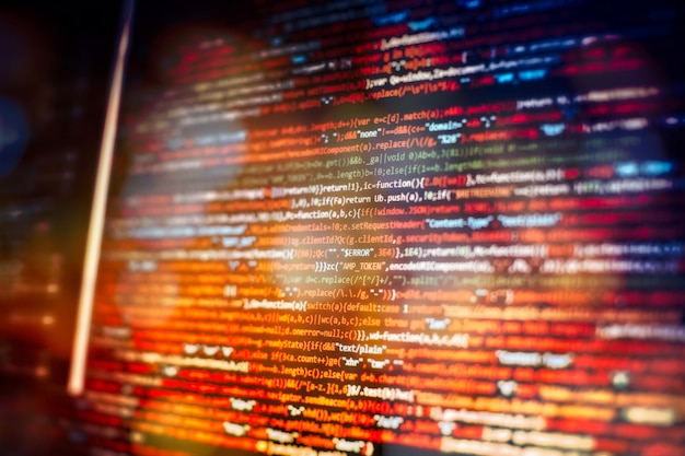 Fonctions de programmation web sur ordinateur portable sur ordinateur portable. entreprise informatique. écran d'ordinateur de code python. concept de conception d'applications mobiles.