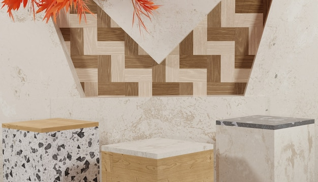 Fond 3d avec 3 podiums en bois et en marbre avec thème d'automne de feuilles d'oranger