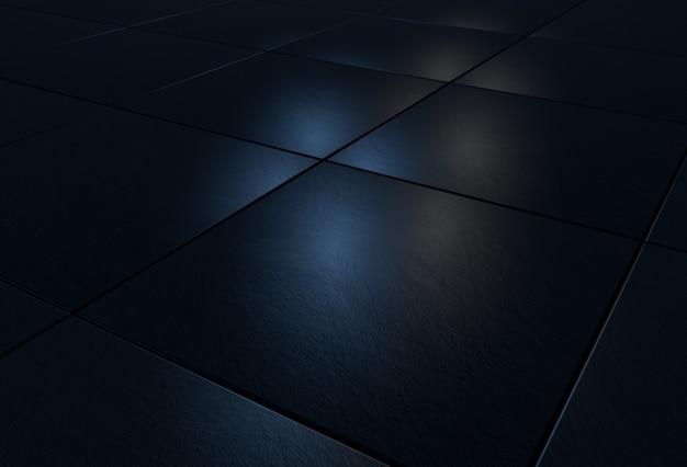 Fond 3d avec des carreaux de pierre noirs éclairés par une lumière bleue et blanche
