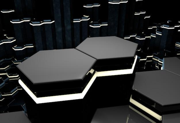 Fond 3d avec des colonnes hexagonales brillantes noires