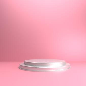 Fond 3d de couleur rose tendre avec scène pour la vitrine du produit