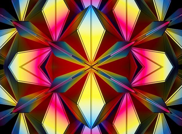 Fond 3d avec fleur extraterrestre à symétrie fractale