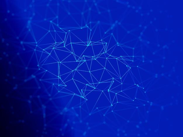 Fond 3d low poly avec lignes et points de connexion