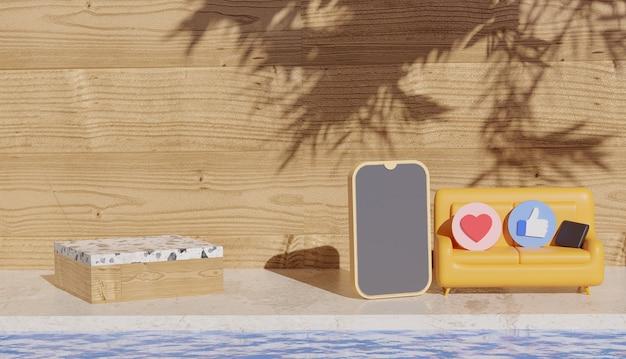 Fond 3d avec podium en bois et smartphone à côté d'un canapé avec des symboles de médias sociaux