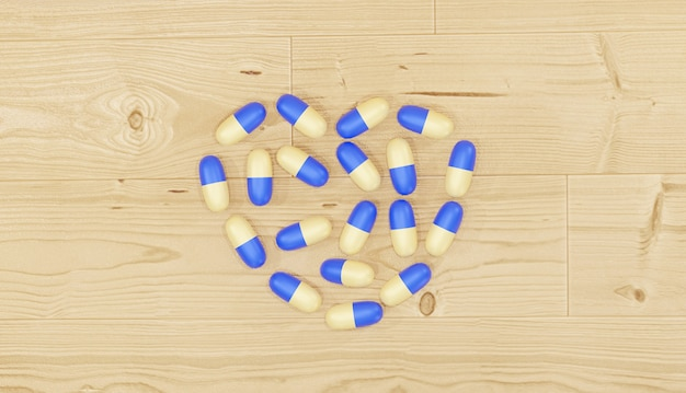 Fond 3d rendant les pilules médicinales disposées comme un coeur sur un plancher en bois pour le thème de la pharmacie