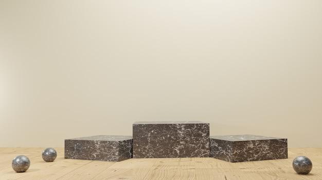 Fond 3d rendant le support de produit d'affichage en marbre noir ou le piédestal de podium de champion sur un fond sombre