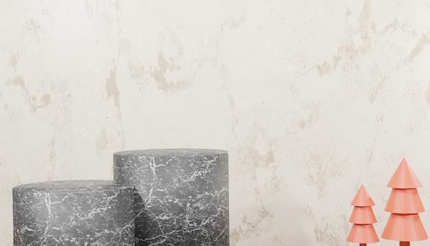 Fond 3d rendu podium en marbre noir un minimum d'étapes de base vides et d'arbres avec espace de copie