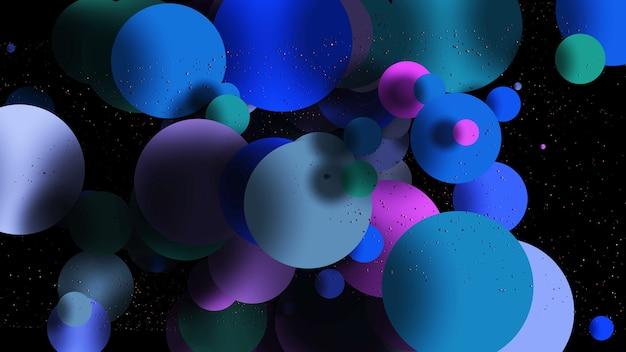 Fond abstrait coloré avec des boules cercles roses bleus fond psychédélique