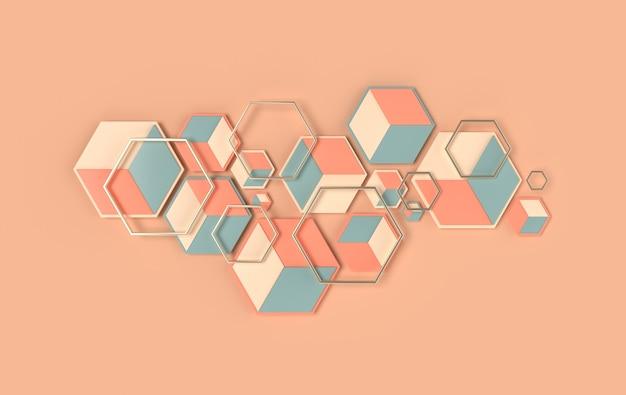 Fond abstrait hexagonal effet de profondeur de champ panneau 3d en nid d'abeille cellulaire moderne avec hexagones