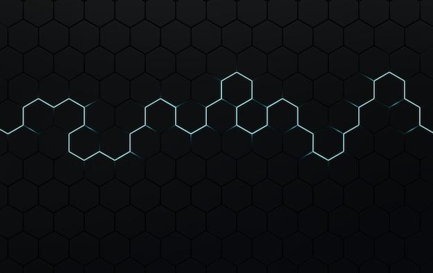 Fond abstrait hexagonal panneau 3d cellulaire futuriste avec hexagones et néon
