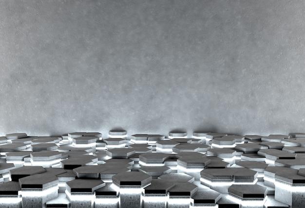 Fond abstrait hexagonal avec plancher éclairant et mur de béton gris