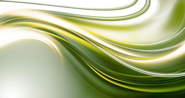 Fond abstrait lumineux avec des lignes douces vertes et jaunes
