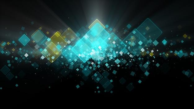 Fond abstrait numérique noir avec des particules de mousseux formant un carré bleu.