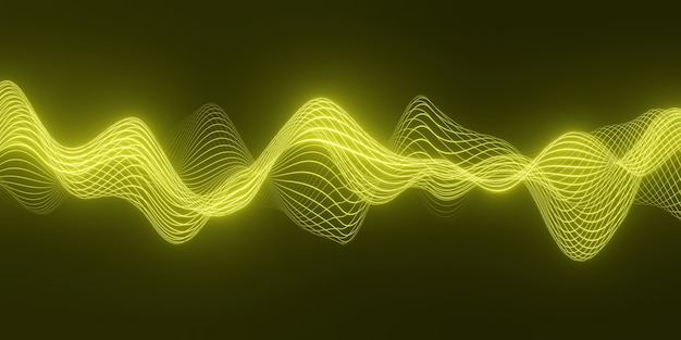 Fond abstrait de rendu 3d avec une vague jaune de particules qui coule sur des lignes de forme de courbe sombre et lisse