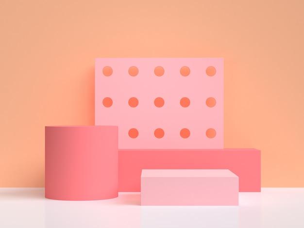 Fond abstrait rose orange abstrait rendu 3d
