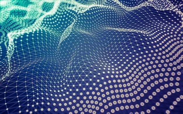 Fond abstrait. technologie de molécules avec des formes polygonales, reliant les points et les lignes. structure de connexion. visualisation de big data.