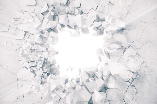 Fond abstrait terre déchiquetée avec des rayons de lumière volume