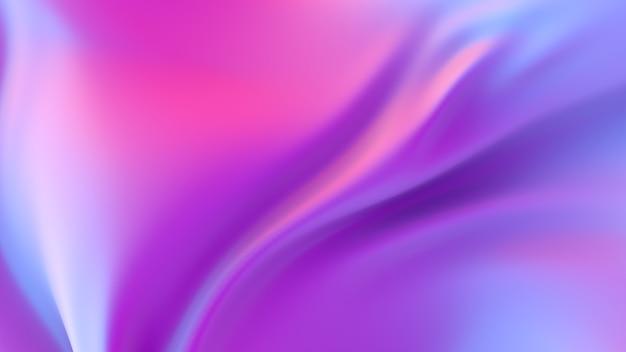 Fond abstrait en tissu dégradé ondulé chrome irisé, texture de feuille holographique ultraviolette, surface liquide, ondulations, reflet métallique. illustration de rendu 3d.