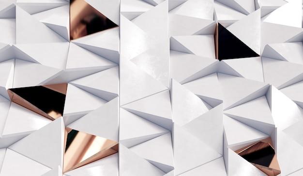 Fond abstrait triangles blancs et dorés