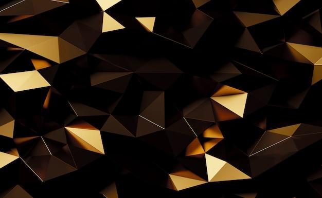 Fond abstrait triangles géométriques en métal doré