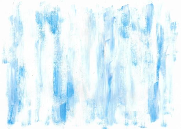 Fond acrylique abstrait dessiné à la main bleu et blanc toile de fond de coups de pinceau coloré