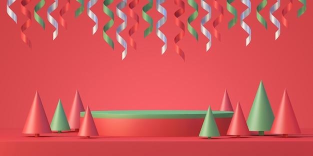 Fond d'affichage de maquette de podium de produit de noël et du nouvel an avec arbre de noël et ruban, arrière-plan de rendu 3d