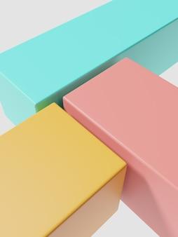 Fond d'affichage de produit géométrique minimal de rendu 3d avec trois blocs de plate-forme jaune rose et turquoise