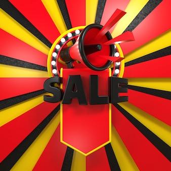 Fond d'affiche de vente coloré avec des lettres tridimensionnelles et un mégaphone dans un anneau lumineux