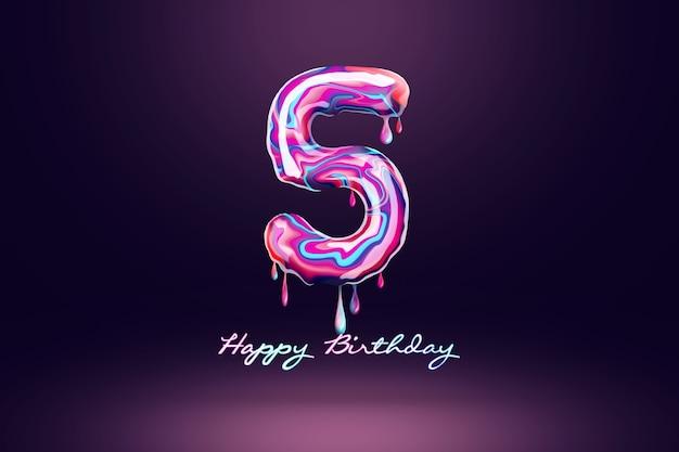 Fond d'anniversaire de cinq ans, nombre de bonbons roses sur fond sombre. concept pour fond de joyeux anniversaire, modèle de brochure, fête, affiche. illustration 3d, rendu 3d.