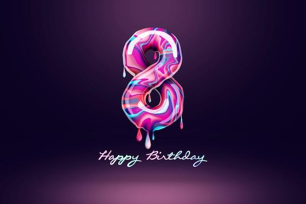 Fond d'anniversaire de huit ans, nombre de bonbons roses sur fond sombre. concept pour fond de joyeux anniversaire, modèle de brochure, fête, affiche. illustration 3d, rendu 3d.